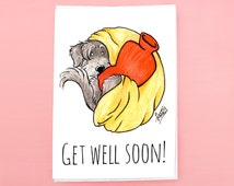 Dog Greeting Card with envelope - get well soon card - feel better card - dog lover card - cute dog card - terrier card