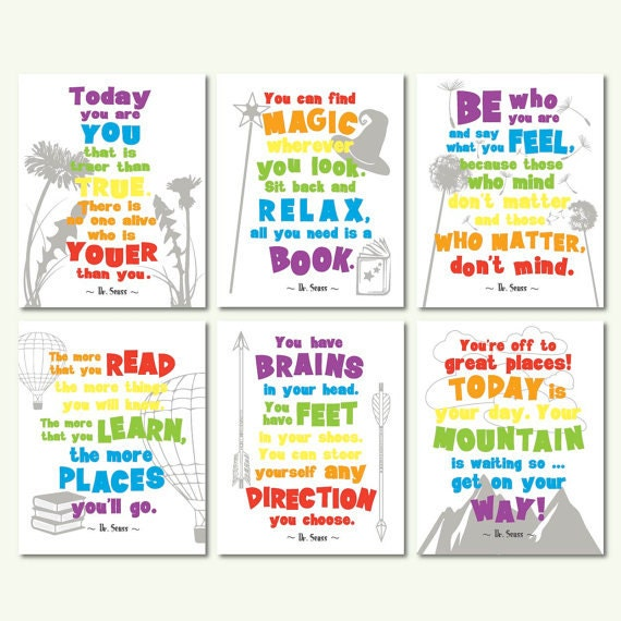 Dr Seuss Quotes Kid: Dr Seuss Quotes Motivational Quotes Kids Room Wall Art Set