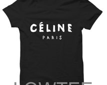 Celine Paris Black Tshirt white and gold
