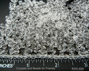 600 clear Crystal 4mm, Preciosa Czech Fire Polished Round Faceted Glass Beads, Czech Glass Fire Polish Beads