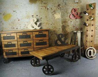 Vintage industrial Mango hardwood Cart Trolley Coffee Table.