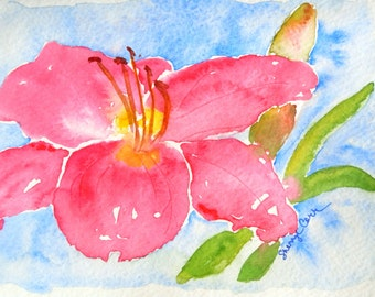 Coral Daylily Watercolor Notecard