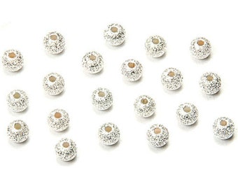 20 Sterling Silver Plated 4mm Sparkle Shimmer Round Metal Accent Beads (Free Shipping USA)