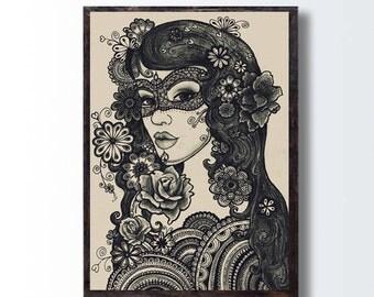 Vintage Style Sepia Art PRINT Teen Gift, Girl Flowers Drawing, Woman Poster, Girl Portrait, Bohemian Wall Decor, Fantasy Black & White Art