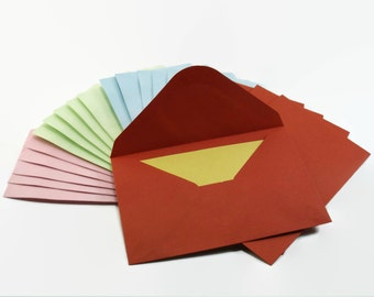 x20 Small Envelopes, Mini Paper Envelopes in 4 colors, 7.6x12 cm, For Stationary, Gift, Business...