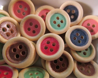 20 Color Wood Rim Buttons- 15mm- Mixed Color Sewing- Scrapbooking- Jewelry Making- Crafts
