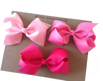4.5 inches Set 10 Classic Boutique Bow - With Alligator Clip - Choose Your Colors