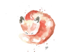 Watercolor Baby Fox Print of My Original Painting - Watercolor Animal Painting, Nursery Wall Decor, Animal Art Print, Giclee Art Print