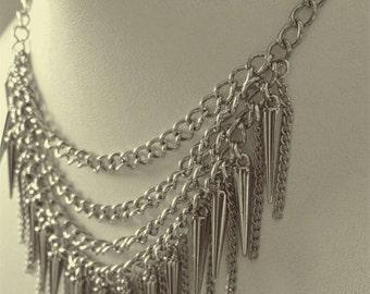 Silver cone fringe necklace