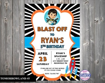 Miles from Tomorrowland Inspired Invitations, Tomorrowland #5, Any Age, Personalized, DIY, Printable,  Invitation,  5x7, Choose colors