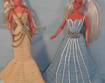 Crochet Fashion Doll Barbie Pattern- #231 JEWELED TRIMMED GOWNS #1