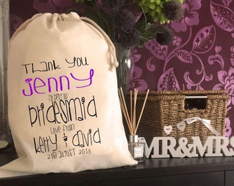Personalised Bridesmaid Gift Bag - Various Sizes Available Jenny Design