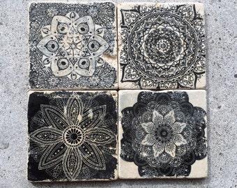 Black & White Coasters/Stone Coasters/Patterned Coasters/Monochromatic Coasters