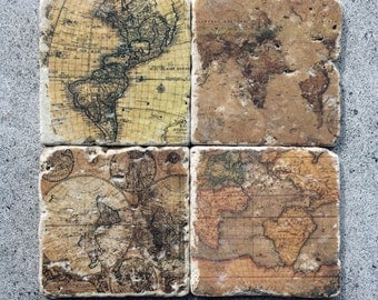 World Map Coasters/Old World Coasters/Vintage feel Coasters/ Global Coasteers