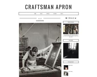 "Responsive Blogger Template ""Craftsman Apron"" / Instant Digital Download Premade Blog Theme Design"