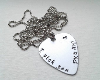 Hand Stamped Aluminum Guitar Pick Necklace With I Pick You and Initials or Date - Personalized Customized Guitar Pick - Valentine's Day Gift