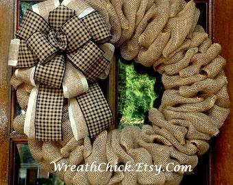 Burlap wreath, Front Door wreath, Spring wreath, All season wreath, Summer wreath, Fall wreath, Farmhouse wreath, Burlap wreath for door