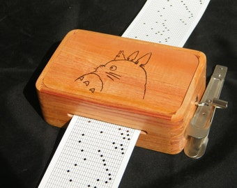 wooden music box using strips, 30 note, Ghibli music (Mononoke Totoro Spirited Away Laputa) custom music, free engraving, valentine day