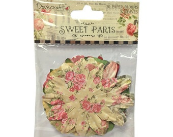 Dovecraft Sweet Paris Paper Blossoms 30 Blooms and Leaves