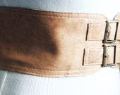 Tan Beige corset Leather Two Gold Buckle Belt  Tan Belt  Corset Waist Belt  Leather Buckle Belt  Buckle Belt