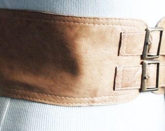 Tan Beige corset Leather Two Gold Buckle Belt | Tan Belt | Corset Waist Belt | Leather Buckle Belt | Buckle Belt