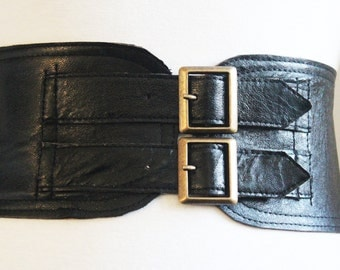 Black Corset Leather Two Gold Buckle Belt | Black Belt | Corset Waist Belt | Leather Buckle Belt | Black Leather Buckle Belt
