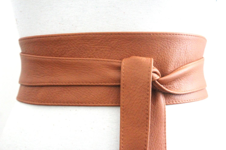 leather obi belt waist or hip belt leather tie by