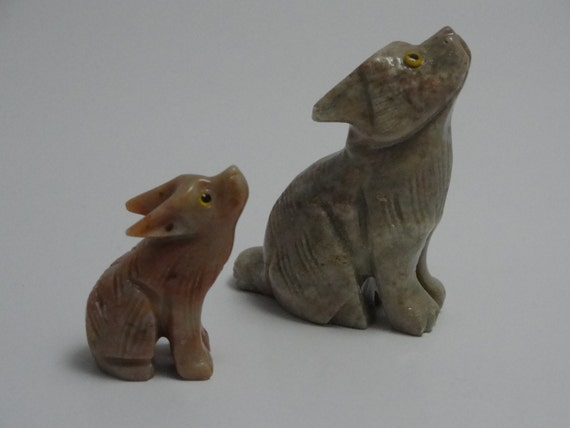 Hand carved soap stone animal set unique by earthdesignstones