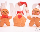 Three Felt Christmas ornaments - gingerbread man, woman and their gingerbread house