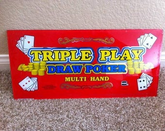 Triple Play Draw Poker Slot Machine Glass