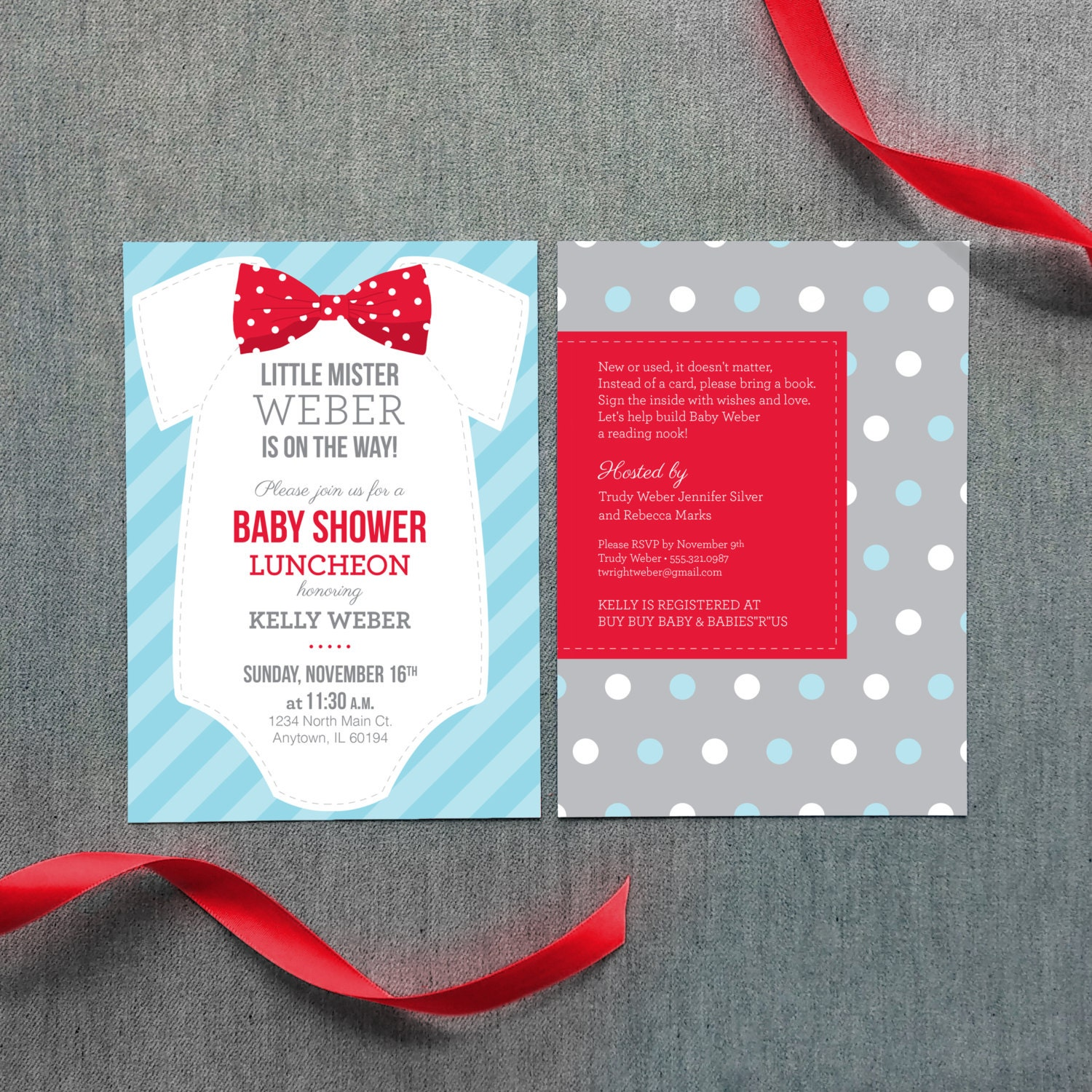 boy bow tie baby shower invitation digital file