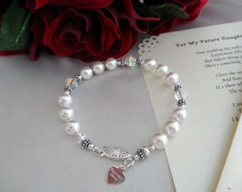 Wedding bracelet and personalized poem or note for your future daughter-in-law welcoming her into your family
