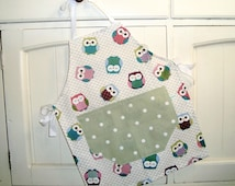 Child's Sage Owls Apron, Child's Full Apron, Adjustable Child's Apron, Owls Child's Apron