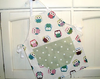 Child's Sage Owls Apron, Child's Full Apron, Adjustable Child's Apron, Owls Child's Apron