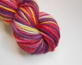 CLEARANCE Daisy May Hand Painted Wool Yarn BFL Aran Bluefaced Leicester Purple Magenta Yellow Variegated Hand Dyed OOAK