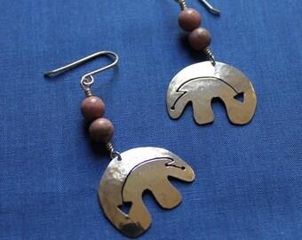 Southwestern Bear Dangle Earrings  in Sterling Silver