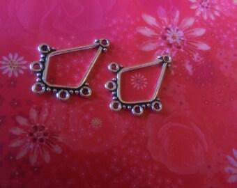 Sale 20% off~Bali Silver Diamond Chandelier Components ~33mm~2pc