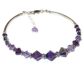 PURPLE 2-tone Tanzanite Crystal Bracelet Sterling Silver Swarovski Elements