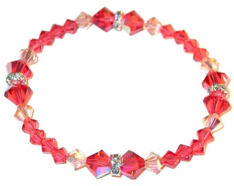 PADPARADSCHA & PEACH Crystal Bracelet Stretch-on Handcrafted Swarovski Elements