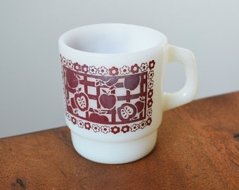 Fire King Gingham Picnic Mug in Maroon Red, Vintage Milk Glass cup; Stackable circa 1960s