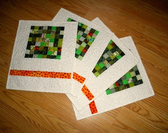 quilted placemats green/white set of 4