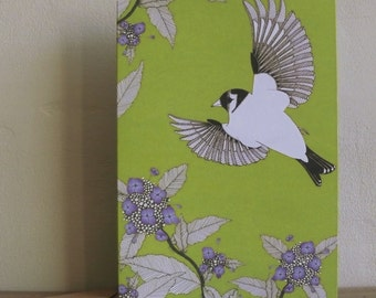 Hydrangea & goldfinch greetings card
