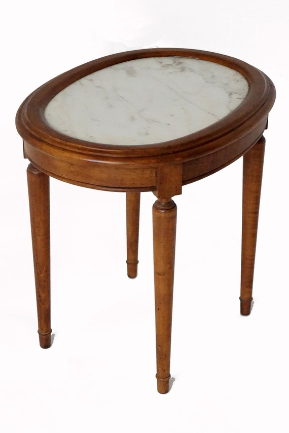 Small Antique Wood Side End Table White Marble Top Four Legs