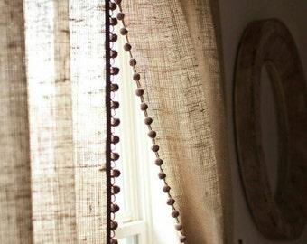 No Oder Natural Burlap Curtain Panel With Pom Trim Country Farmhouse Drapes Living Room