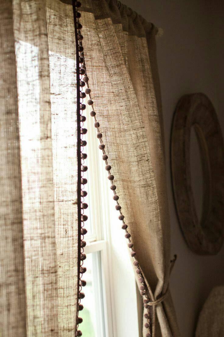 No oder natural burlap curtain panel with pom pom trim