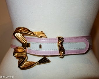 Vintage Escada avant garde pink/white/gold leather designer belt // XS-S // 1980s // big buckle