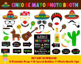 PRINTABLE Cinco De Mayo Photo Booth Props–Photo Booth Sign-Printable Mexican Fiesta Props-Mexico Photo Booth Props-Instant Download