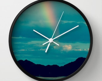 Rainbow Wall Clock, Blue Wall Clock, Turquoise, Mountain, Silhouette, Africa, Flash of Rainbow, Wall decor, colorful, nature, Namibia
