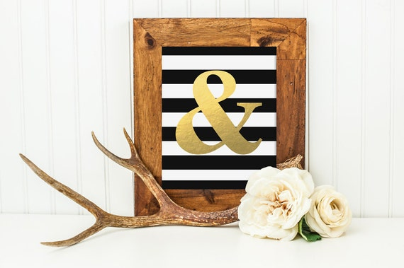 Ampersand gold foil look wall decor art print inspirational for Ampersand decor