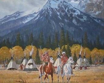 """Ron Stewart Oil Painting : Original Ron Stewart Oil, """"Autumn Morning"""" Signed Ron Stewart, Ron Stewart Western Art, Ron Stewart Art, #528."""
